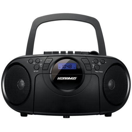 Portable CD Boombox Stereo Sound System w/ Top-Loading MP3 CD/Cassette Player and Recorder, AM/FM, USB Input, Headphone & AUX Jack w/ Full Function Remote Control-Koramzi CD705CBK (Black)-NEW