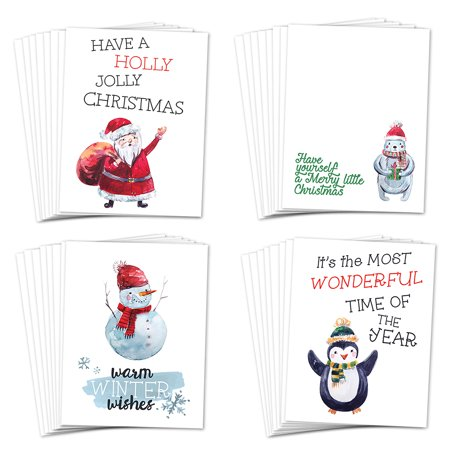 Cute Christmas Cards 24 Pack w Envelopes 4 Assorted Winter Holiday Designs Perfect for Students Classroom Kids Children Friends Neighbors Greeting Card Exchange 24 Mix Boxed Set by Digibuddha