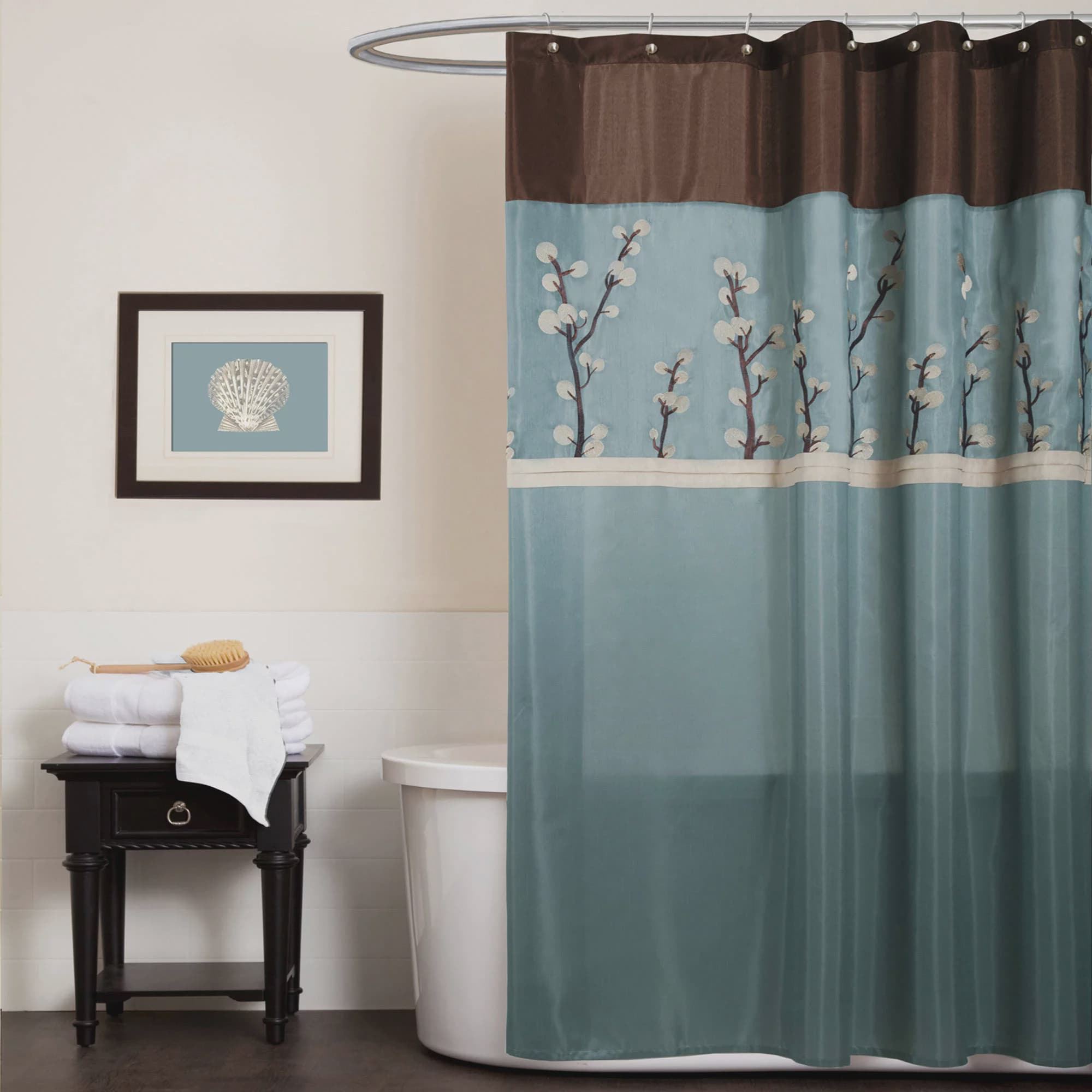 turquoise and black shower curtain.  Cocoa Flower Shower Curtain Walmart com