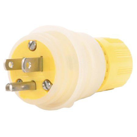Woodhead 14W33EZ Watertite Wet Location Straight Blade Plug, Ground Continuity Monitor, 3 Wires, 2 Poles, NEMA 5-20 Configuration, Yellow, 20A Current, 125V (Watertite Plug)