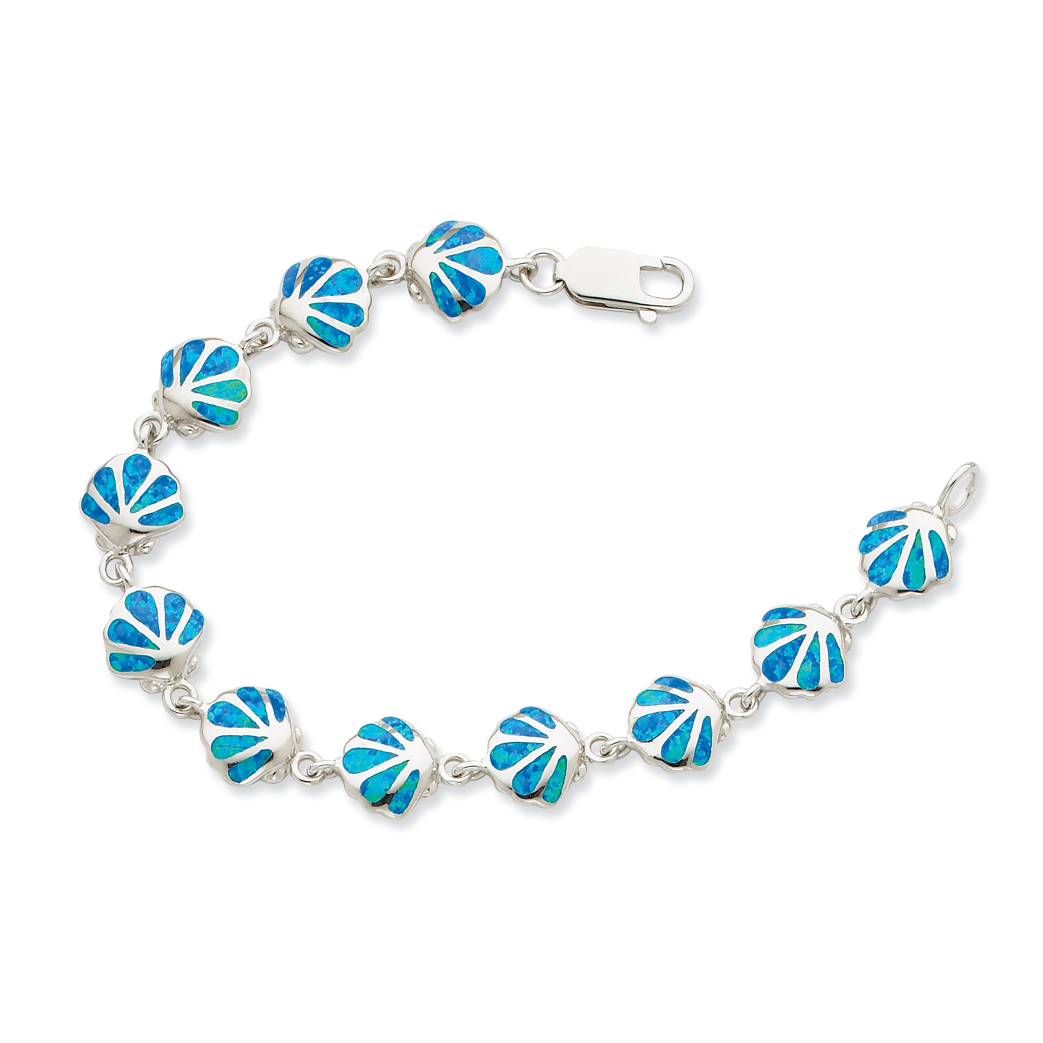 Sterling Silver 7in Created Blue Opal Inlay Shell Bracelet by