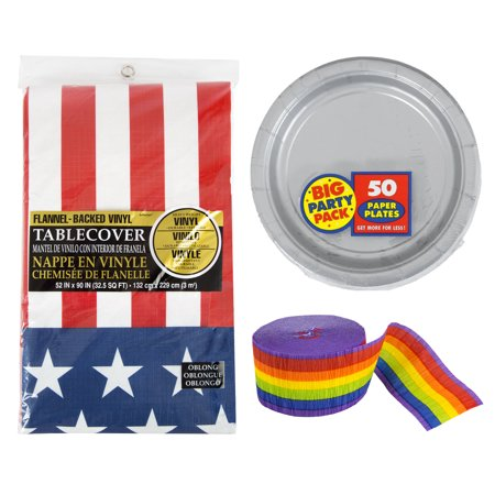 Amscan Silver Party Plates with Patriotic Table Cover and Party Rainbow Crepe Streamers