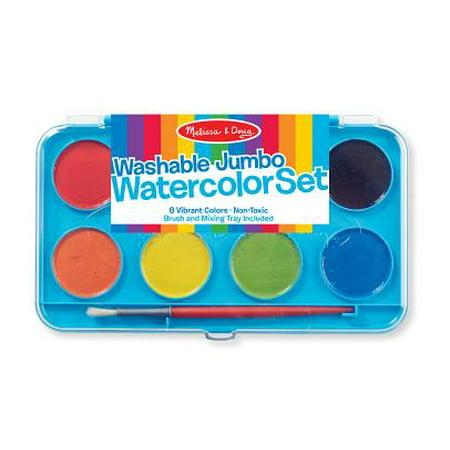 - Melissa & Doug Jumbo Watercolor Set - 8 Colors in Sturdy Flip-Top Case With Deluxe Brush