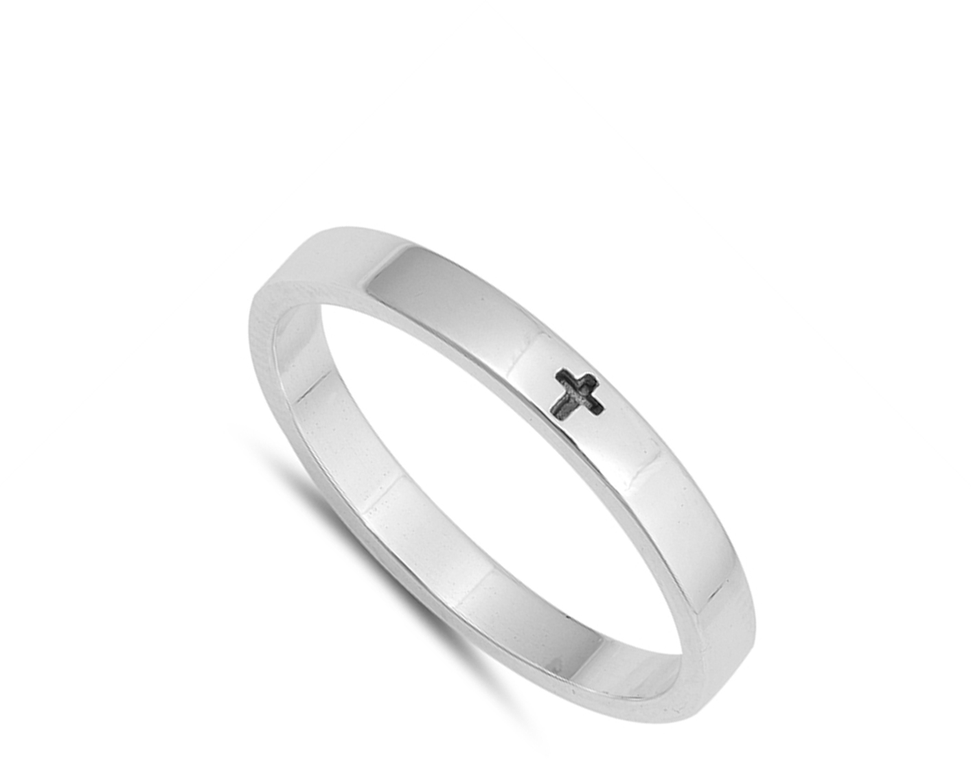 6839bf62f1aca Simple Little Engraved Cross Stackable Ring .925 Sterling Silver Band Size 6