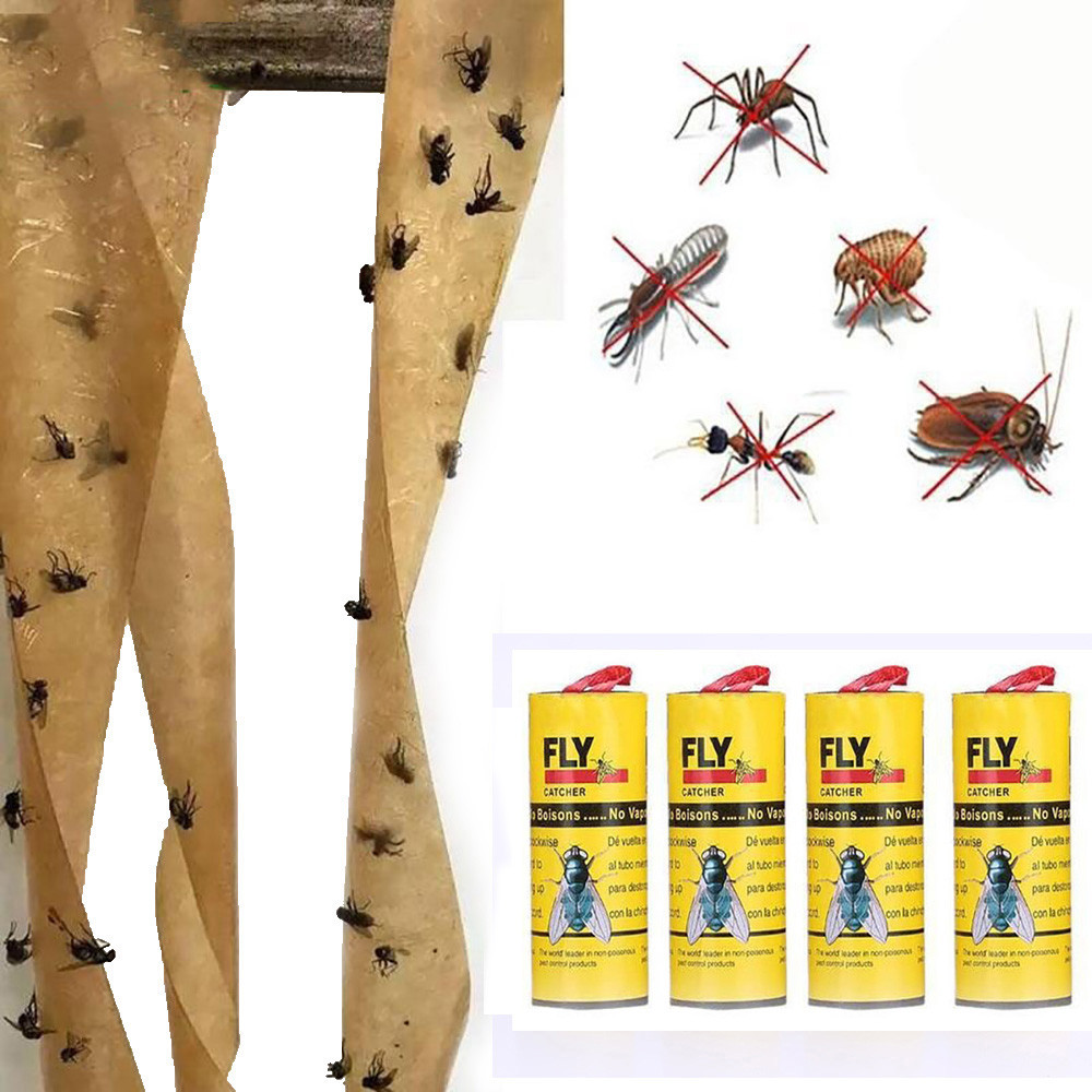 photo regarding Printable Sticker Paper Walmart known as Womail 4 Rolls Sticky Fly Paper Take away Flies Insect Bug Glue Paper Catcher Entice