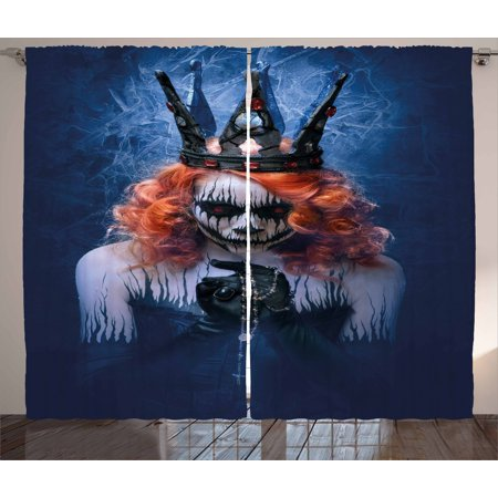 Queen Curtains 2 Panels Set, Queen of Death Scary Body Art Halloween Evil Face Bizarre Make Up Zombie, Window Drapes for Living Room Bedroom, 108W X 90L Inches, Navy Blue Orange Black, by Ambesonne