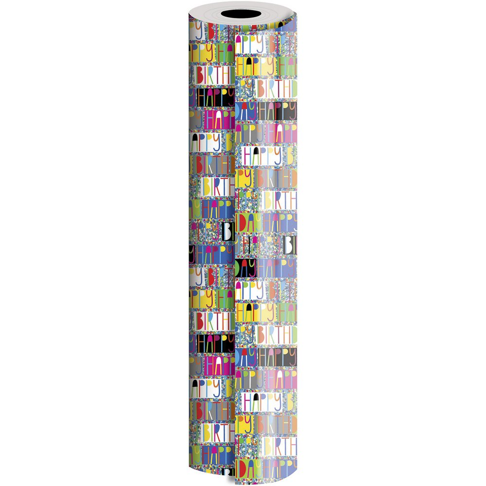 JAM Paper Industrial Size Bulk Wrapping Paper Rolls, Birthday Glitterbration Design, 1/2 Ream (834 Sq Ft), Sold Individually