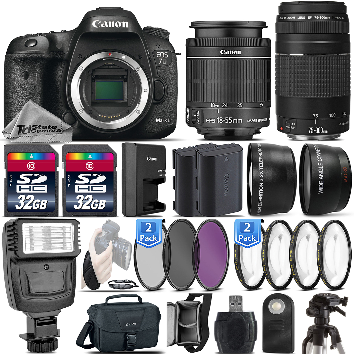 Canon EOS 7D Mark II DSLR Camera + Canon 18-55mm IS STM Lens + Canon 75-300mm Lens + Flash + 0.43X Wide Angle Lens + 2.2x Telephoto Lens + 64GB Storage