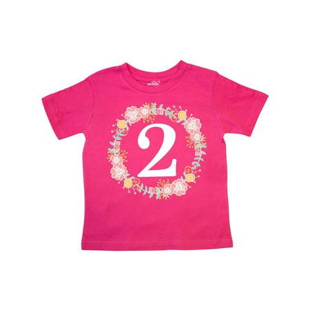 2nd Birthday Rose Wreath 2 Year Old Girl Toddler T-Shirt