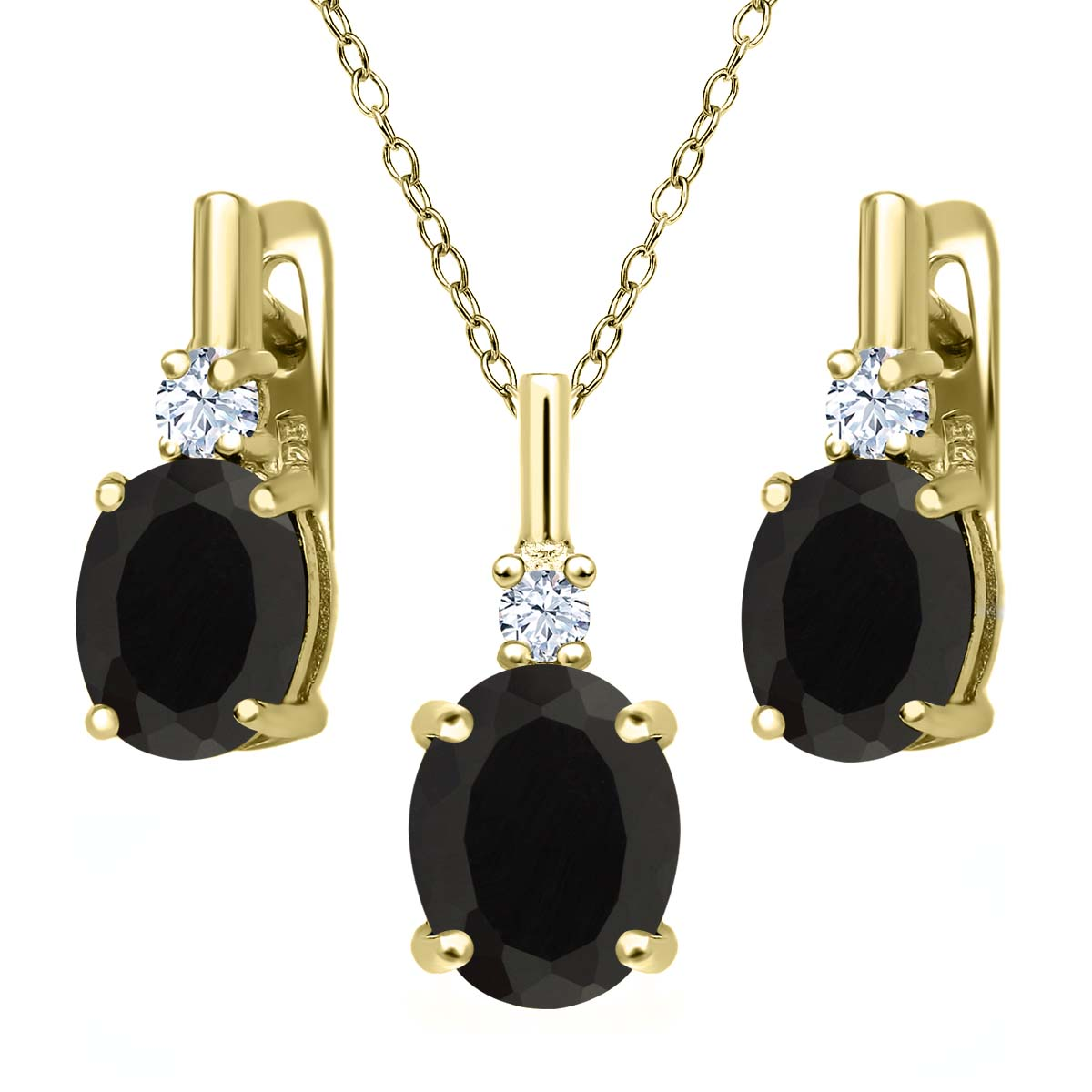 4.97 Ct Black Onyx White Topaz 18K Yellow Gold Plated Silver Pendant Earrings Set by