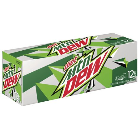 (3 Pack) Diet Mountain Dew Diet Soda 12 Fl Oz 12 Count