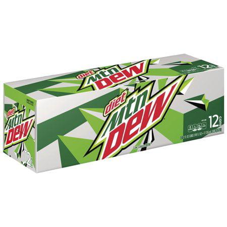 (3 Pack) Diet Mountain Dew Diet Soda, 12 Fl Oz, 12 Count