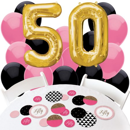 Chic 50th Birthday - Confetti and Balloon Birthday Party Decorations - Combo Kit (Birthday Confetti)