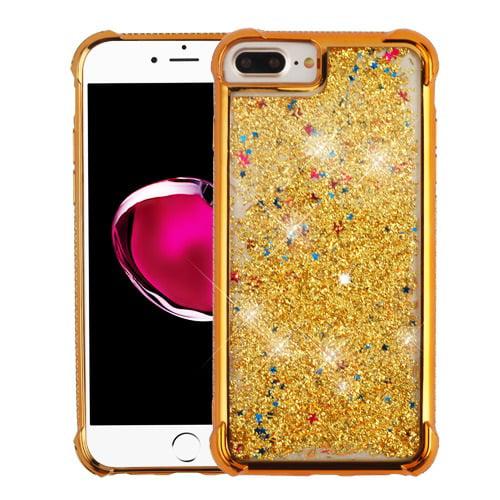 MUNDAZE Gold Motion Glitter Chrome Case For Apple iPhone 7 Plus Phone
