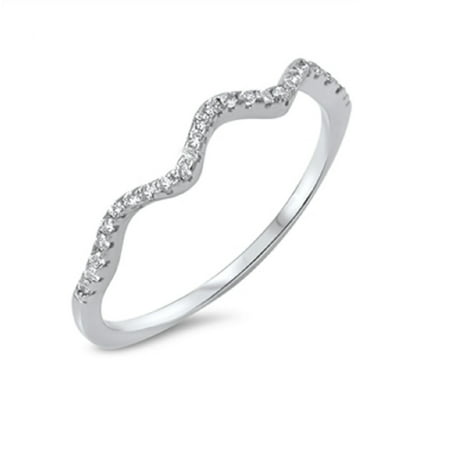 Crooked Line Cubic Zirconia Ring Sterling Silver 925