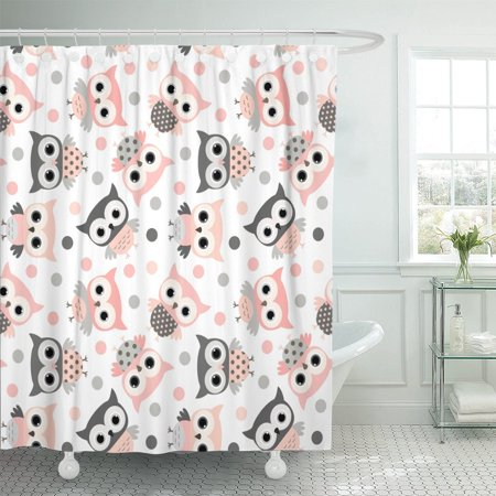 PKNMT Gray Cute Pink and Grey Cartoon Owls Babies Designs Polyester Shower Curtain 60x72 inches - Pink And Grey Baby Shower