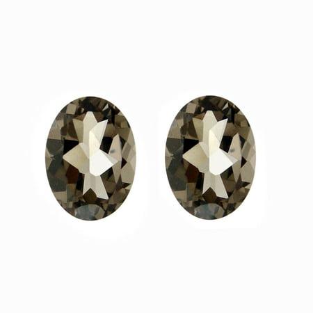 Glitzy Rocks  8x6 Oval-cut Smokey Quartz Stones (2 1/10ct TGW) (Set of 2) ()