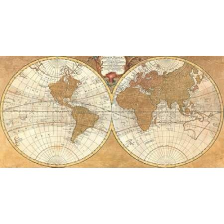 Posterazzi Gilded World Hemispheres I Canvas Art   Joannoo  24 X 48