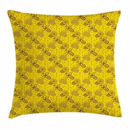 Bee Throw Pillow Cushion Cover, Repeating Pattern of Honeybees Hexagon Honeycombs Petals Shapes in Contour Form, Decorative Square Accent Pillow Case, 18 X 18 Inches, Yellow and Brown, by Ambesonne - Shape Of A Honeycomb