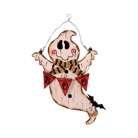Celebrations 9438771 Hanging Ghost Sign Halloween Decoration, White