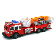 Top Rank Fire Trailer Children's Kid's Friction Toy Truck Ready To Run w/ 360 Degree Rotating Extending Crane, No Batteries Required