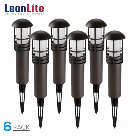 LEONLITE 6 Pack 3W LED Landscape Light, 12V Low Voltage, Aluminum Housing with Ground Stake, Outdoor Pathway Garden Yard Patio Lamp, 3000K Warm White