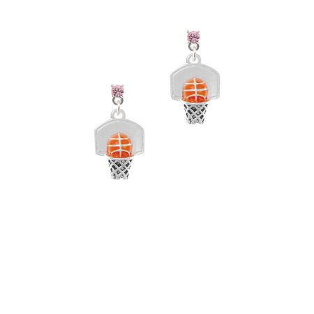 Silvertone 3-D Enamel Basketball in Hoop Light Pink Crystal Post Earrings - Basketball Earrings