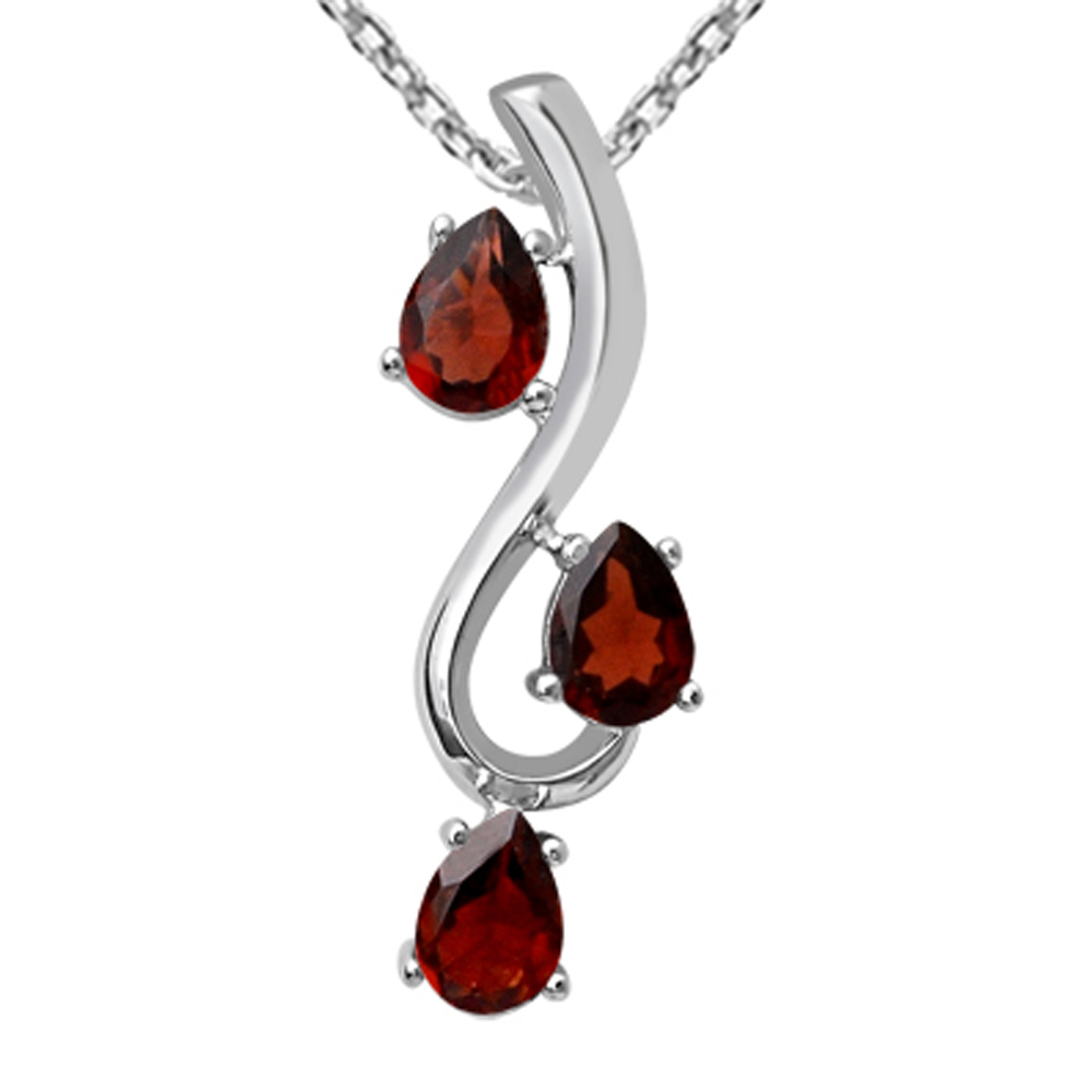 Orchid Jewelry 925 Sterling Silver 2 2/5 Carat Garnet Necklace