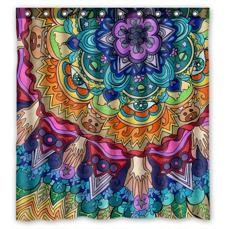 GCKG Beautiful Mandala Pattern Bathroom Shower Curtain, Shower Rings Included Polyester Waterproof Shower Curtain 66x72 inches - image 4 de 4