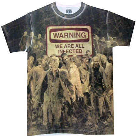 The Walking Dead Warning: Infected Dye Sublimated Adult T-Shirt (Walking Dead T Shirts For Men)