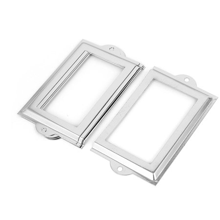 Metal 105Mm X 60Mm Name Card File Drawer Tag Label Holder Frame Silver Tone 5Pcs