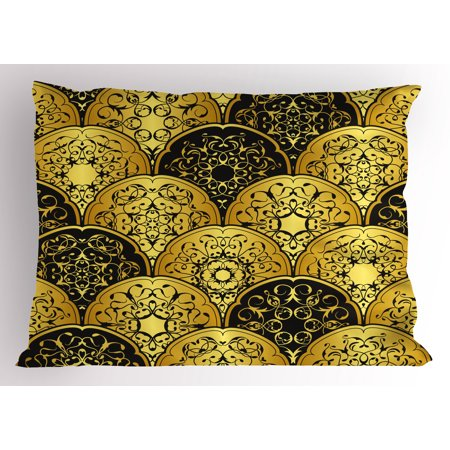 Gold Mandala Pillow Sham Overlapping Round Shapes Retro Revival Fashion with Arabic Art Elements, Decorative Standard Size Printed Pillowcase, 26 X 20 Inches, Gold and Black, by Ambesonne