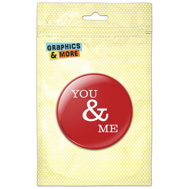 You and Me on Red Pinback Button Pin Badge