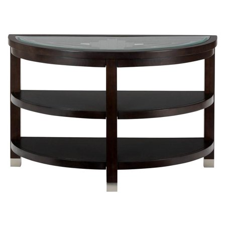 Glass Top Metal Finish - Sofa Table with Tempered Glass Top
