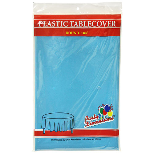 "Island Blue  84"" Round Plastic Disposable Party  Tablelcoth"