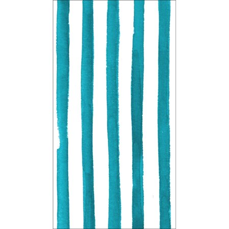 Club Pack of 192 Peacock Blue Dotted and Striped Premium 3-Ply Disposable Party Napkins - Peacock Party