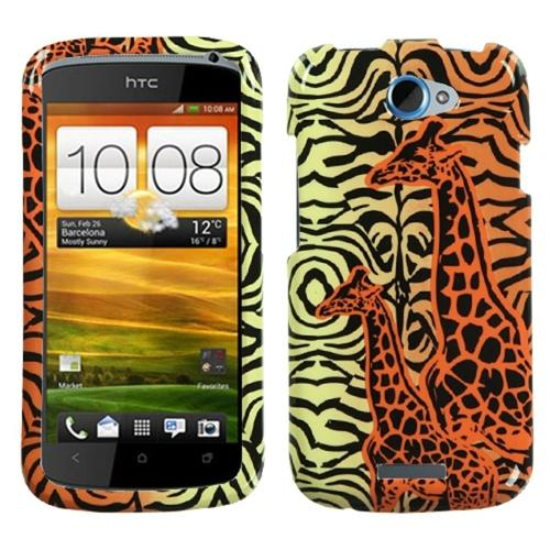 Insten Orange Giraffe Pair Phone Case for HTC: One S