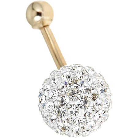 10kt Solid Yellow Gold Belly Ring With Silver Colored Cz In A Pave - 14k Gold Belly Button Ring