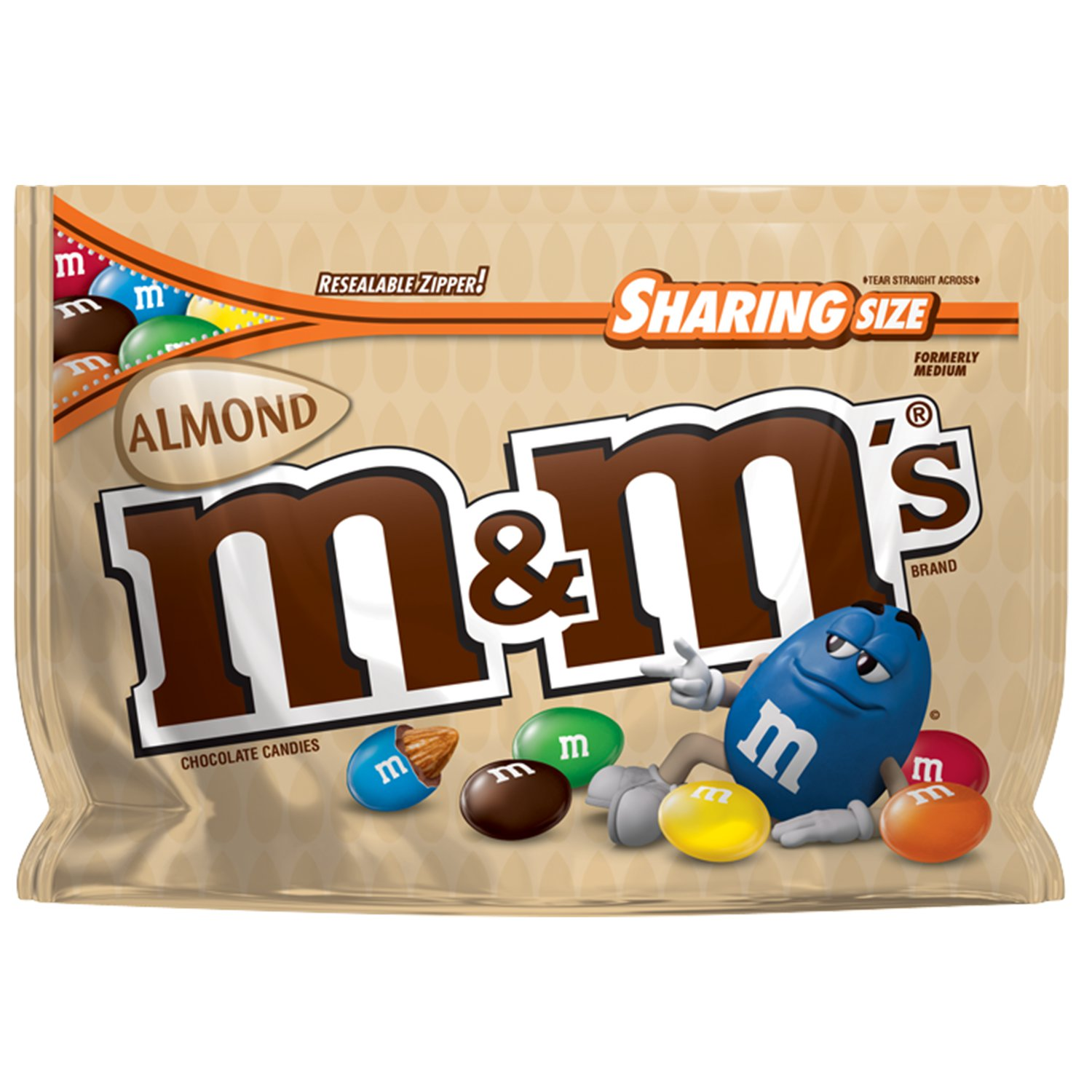 M&M'S Almond Chocolate Candy Sharing Size, 9.3 Ounce Bag