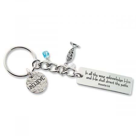 Believe Key Ring- Engraved With Words of Faith