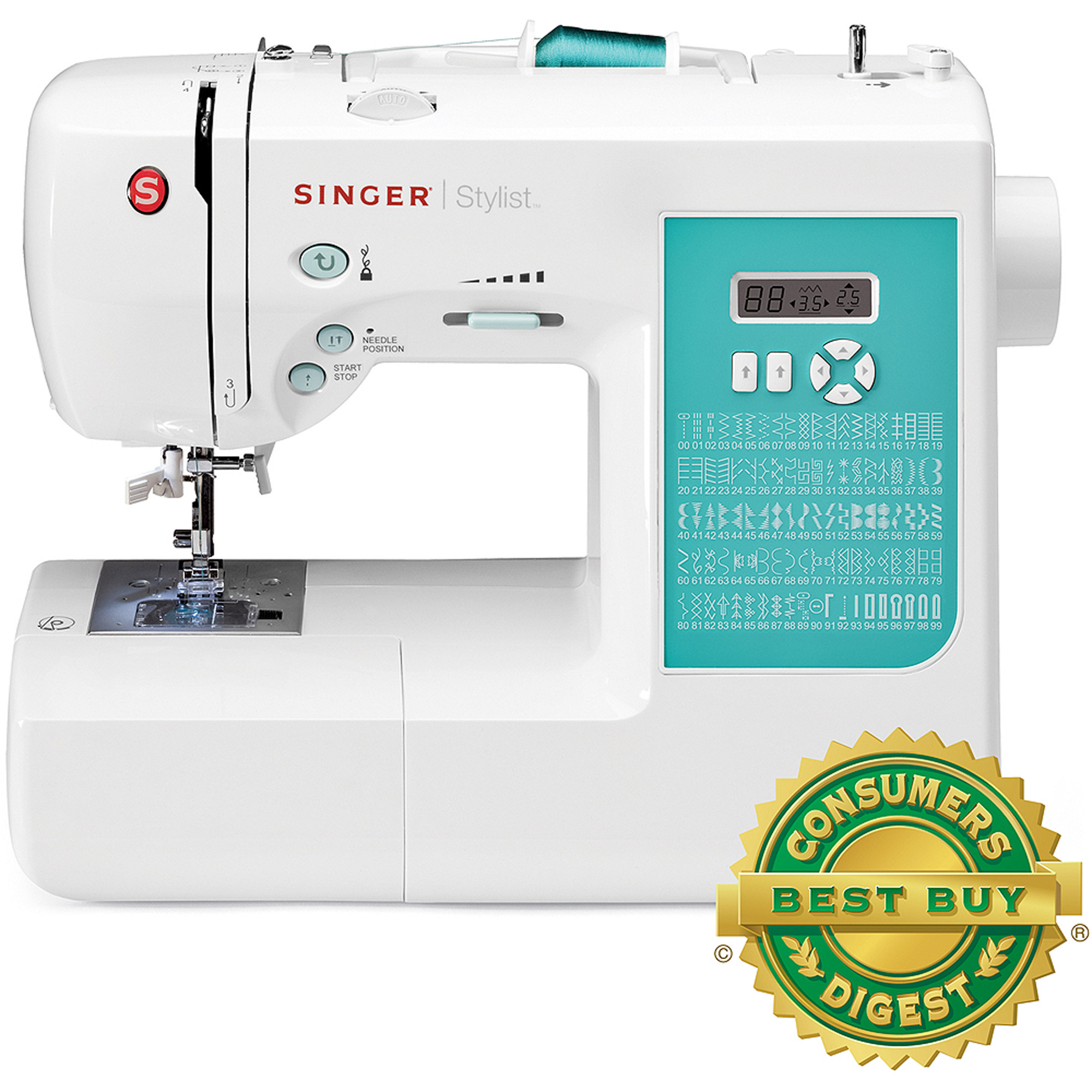 SINGER 7258 Stylist Award-Winning 100-Stitch Computerized Sewing Machine with DVD, 10 Presser Feet, Metal Frame, and More