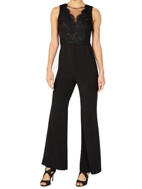 Sleeveless Lace Knit Crepe Jumpsuit