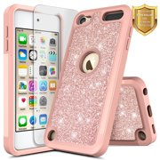 iPod 5 / iPod 6 Case, iPod Touch 5th / 6th Generation Case with Screen Protector for Girls Kids Women, High Supply Glitter Shiny Bling Sparkle Heavy Duty Shockproof Cute Cover Case -Rose Gold Rose Go