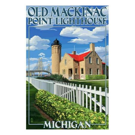 Mackinac Point Lighthouse - Mackinac Island, Michigan - Old Mackinac Lighthouse Print Wall Art By Lantern Press
