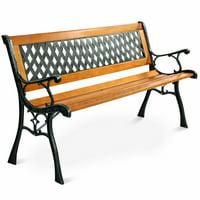 Costway 49 1/2'' Patio Park Garden Bench Porch Path Chair Outdoor Deck Cast Iron Hardwood
