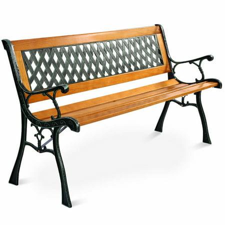 Costway 49 1/2'' Patio Park Garden Bench Porch Path Chair Outdoor Deck Cast Iron Hardwood ()