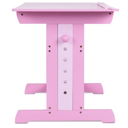Gymax Adjustable Wooden Drafting Table Art Craft Drawing Desk Hobby W Drawer Pink