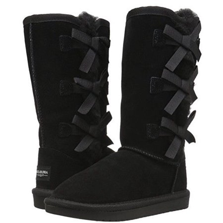 Koolaburra By UGG Girl's Victoria Tall Suede Triple Bow Boot Black Youth Size 13 (uggs on sale size 12)