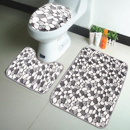3Pcs Bathroom Set Pedestal Rug + Lid Toilet Cover + Bath Mat Carpet Doormat Home Decor Christmas Gift](Welcome Gift)