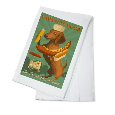 Hawaii - Lava Hot Dogs - Dachshund - Retro Hotdog Ad - Lantern Press Artwork (100% Cotton Kitchen (Air Jordan Retro 7 Gs Hot Lava)
